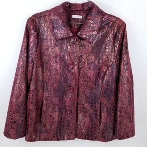 Erin Jacket 3x Textured Pockets Coat Wine Red